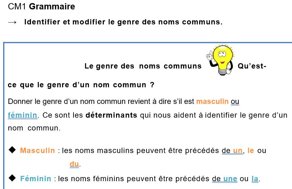CM1 Grammaire : identifier et modifier le genre et le nombre des noms leçon et exercices