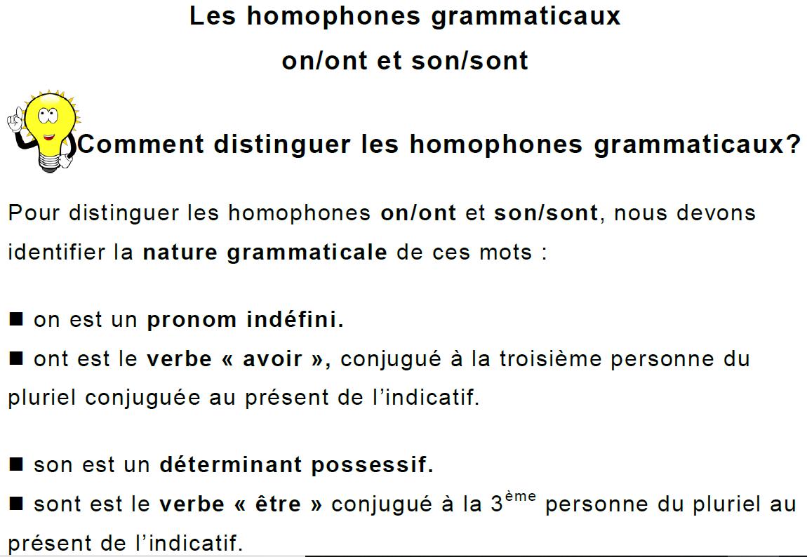 Cm1 Orthographe Les Homophones Grammaticaux On Ont Et Son Sont Lecon Et Exercices