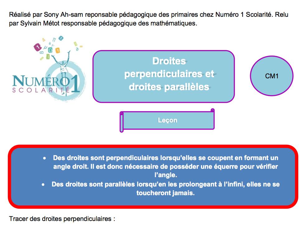 Cm1 Droites Perpendiculaires Et Droites Paralleles Exercices Et Lecon