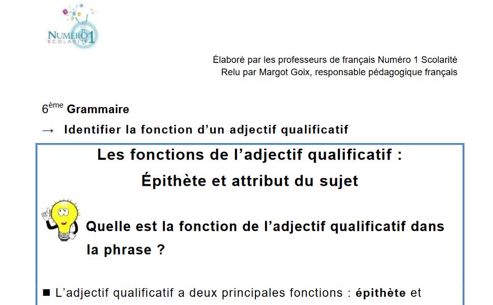 Exercices Et Lecons De Francais 6eme Gratuits A Telecharger
