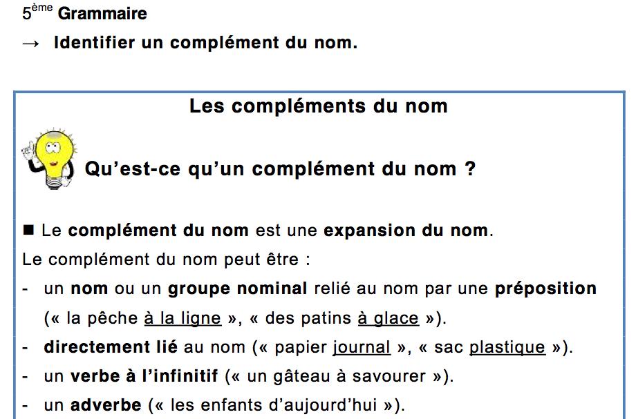 5eme Grammaire Les Complements Du Nom Lecon Et Exercices