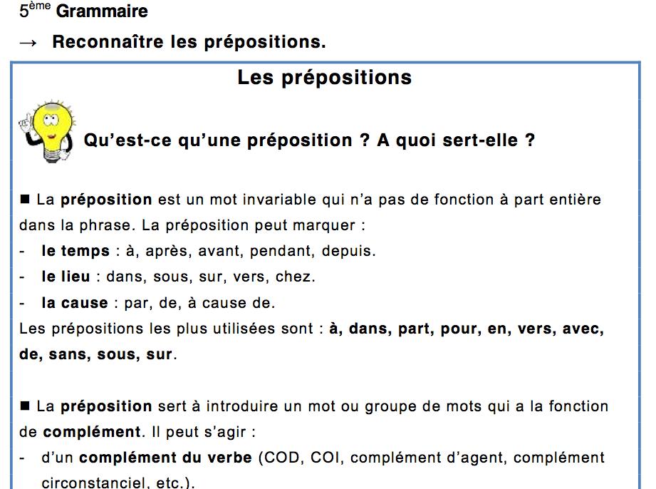 Aide aux devoir: Controle Francais 5eme